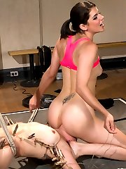 Welcome the beautiful and charming Bella Wilde to Whipped Ass! Bella is a local model with an extremely flexible body and a want to push her limits with rough lesbian BDSM sex! In this roleplay fantasy update she plays a gymnast with a very sadistic coach! When Bella doesn't satisfy her coach she's subjected to Bobbi's unconventional ways of training her athletes into champions! Bella is put to the test with cropping, zippers, uncomfortable bondage, nipple clamps and made to lick her coaches pussy. Bella is fucked hard in the pussy and ass with a strap-on and have very intense orgasms. Does this make her the champion? We're not sure but it's sure fun to watch her limits get pushed!