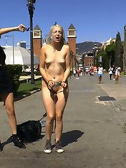 Liz Rainbow is back on Public Disgrace in Barcelona and ready to be completely humiliated in front of huge crowds!Part 1 Fitness DominationThis perky blonde slut needs a workout! And there is no better kink fitness instructor than Mona Wales. Liz Rainbow gets stripped down naked in public and runs a few laps to show off her fat piece of ass. Followed by some naked burpees and ass kissing sit ups this slut gets the full work out. What better fitness then fitting this dick in her mouth, Mona finds 2 huge public cocks to stuff down her throat while the audience gets to rip off a whole zipper of clothespins. This chubby skank is a fat cock loving whore! Finally she gets a bath in a public fountain her hot cunt drenched in freezing cold water! Do not miss Liz Rainbow completely naked in public and sucking off cocks!Part 2 Double PenetrationLiz Rainbow gets tied up in some tight rope bondage and paraded around a crowded clothing store shocking customers. Everyone gets their hands on this filthy bitch. Some customers get to slap her fat ass while she gets stuffed in every hole! Nipple clamps, Corporal Punishment, Caning, Hot Wax it's all fair game! Finally for her last workout Liz gets fisted and double penetrated while everyone holds her down and then drenched in hot cum!