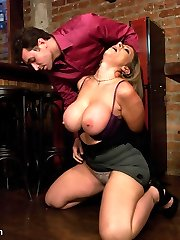 Sara Jay is used to being in control and getting her way as a bar owner.  She takes things too far with one of her employees and finds herself being used up and sexually punished!  The tables have turned on this huge-chested MILF and now Sara is abased and suffers in rock hard restrain bondage.