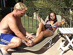 Sexy ebony shemale gets a great outdoor foot massage from a sporty blond, then allows him to...