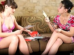 Passionate sapphic gals worshipping each other with hands clad in pantyhose
