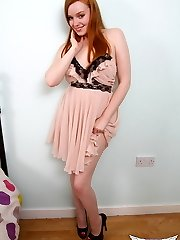 Curvy red head Kloe Kane slowly strips out of her fancy dress showing off her perfect perky...