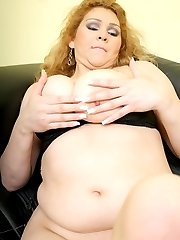 Horny fatty Luana lets her tits hang out as she rides a huge cock in the living room