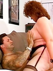 Mature fatty bitch riding wildly on top of horny lover