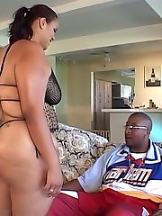 Hot black BBW enjoying a rough cunt nailing