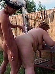 The gigantic babe gets hammered outdoors