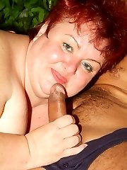 Margaret shows us her pair of fat breasts while a cock goes in and out of her mature cunt