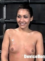 begin reportAgony box Nipples pulled by an automatic machine - machine ramming her pussy...oiled...