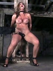 Sizzling delicious Tricia Oaks comebacks to Device with an un-fucking-real assets and incredible bombshell to submit live. In scene one, her flexibility is tested by leaning her over and installing her in the iron neck and wrist restraints. Her shoes are smashed into the floor. This super-bitch can't go anywhere. A labia hook is added to raise her and she is tormented with canes. Not much after that, the mega-slut is suspended upside down by her ankles in the same stocks and brought repeatedly to orgasm. Second, Tricia is folded in leather and given a breath bondage predicament bondage. This tramp loves to be tormented and we challenge her with unforgiving bastinade. Ultimately she is installed in a standing legs opened up predicament in metal restrain bondage with a very strict strappado bondage. Claire taunts her to yield and lay down like the tart she is. This rallies something primal in Tricia and she denies to yield. As her reward, she is laid down on a cruel mattress of springs only and repeatedly masturbated for her orgasms.