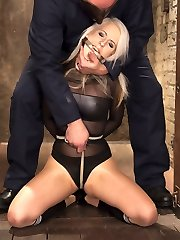 HogTied brings you the hottest honeys very first - All natural big tit blonde babe tied, spanked, clipped, clamped and orgasmed for the first-ever time on Kink.com