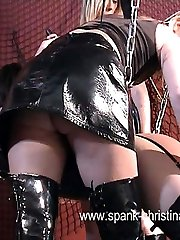 Dark dungeon punishments for buxom brunette in black leather - hot welted ass cheeks