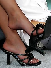 Handsome guy can get off just looking at pantyhosed gal dangling her shoes