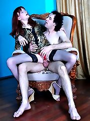 Hot sissy in the animal print tunic smokes a cig and cock before gay anal