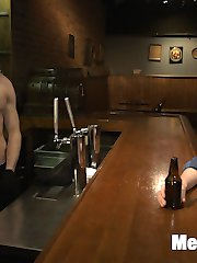 Branden Forrest waits at the bar to surprise Sebastian Keys for his birthday. As the night winds down, Sebastian never shows up, so Forrest starts flirting with the hot guy tending drinks, Brandon Blake. With nothing else to do for the night, Forrest offers to show Brandon  offers a bigger tip if he demonstrate little thing or two about edging for the bartender. Brandon agrees and spreads his muscled arms across the bar, held down tight with ropes while Forrest strips his body. With a blindfold over his eyes. Brandon's senses are left to focus on the slightest sensations running down his cock as Forrest brings him to the edge of cumming. Forrest takes Brandon to the back of the bar and secures his torso from the ceiling. With no control over his body, Brandon twists  against the ropes and pleads for an orgasm, but Forrest only intensifies the pleasure. He rocks Brandon's prostate with a dildo as Brandon swings in the air. Forrest ties Brandon back down to a table and gives Brandon a sensuous blowjob. Van finally arrives with Sebastian's cake -- but learning that Sebastian won't make it -- decides to put the cake to use. They spread the cake's creamy icing all over Brandon's body while he takes messy edge after messy edge. Brandon finally blows his load, the cum thickly garnishing the sticky mess all over his muscles. Van and Forrest won't let Brandon off so easily; at Brandon's first sigh of relief, they torment the stud with a wild tickling.