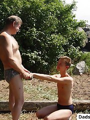 Bear and twink fucking silly outdoors