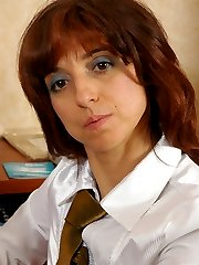 Naughty mature secretary craving for extra money while seducing horny guy