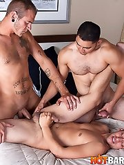 It's Dorian Black's first time bottoming and he gets to take Miguel Temon's yam-sized, uncut, dick and Christian Rock's monster cock up his ass. His buddy Christian has very first go at it, trying his roughest to get his lengthy piece of meat into Dorian's cock-squeezing virgin fuck-hole. Dorian bellows and flinches as it enters. It's too much for him to take for his first time so we have to re-commence with Miguel Temon. After Miguel relaxes that bootie up a bit he passes it back to Christian. I don't think Dorian had any idea how a stiffy that big would perceive up his backside. Miguel and Christian have to intensity his legs apart while they take turns violating him amidst screams of pain and gusto. Dorian's bod was telling no but his pipe was on the verge of splattering the entire time. Christian and Miguel both breed Dorian's bootie filling it with steaming jizm and giving him the go ahead to finally release his own fountain which adorns his torso and abdomen with cum.