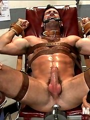 Hairy muscled stud Billy Santoro walks into the sperm bank looking to deposit some semen.  When he's having a little trouble working up a load, the two attendants are more than happy to assist.  They lie him down on the massage table and give him the full body treatment to calm him down.  Billy's then strapped down as the two begin edging his cock, teasing him with vibrator's on his cockhead.  The muscled stud's jacked off with the fleshjack as he's made to suck cock.  Strapped down in the exam chair, Billy has an electric butt plug shoved up his ass.  As more electricity pumps through Billy's ass the more the butt plug fucks his hole, Billy's cock rock hard just begging to cum.  After relentless edging the horny attendants milk a load out of Billy's cock and feed it right back to him before finishing him off with some post-orgasmic torment.