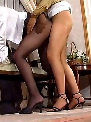 Freaky lezzie licking soft silky pantyhose before an intimate pussy massage