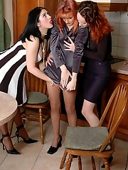 Amazing chicks launching into frantic muff-diving through pantyhose in orgy