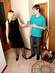 Shoe-sniffing guy tongue-tickling pedicured feet clad in black pantyhose