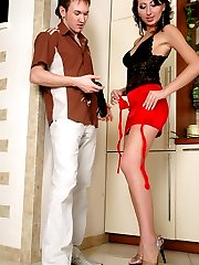 Awesome babe puts on red stockings preparing for cock-riding with her lover