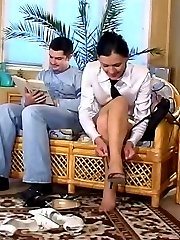 Hot guy sniffing stiletto heel shoes craving for sex with gal in sheer hose