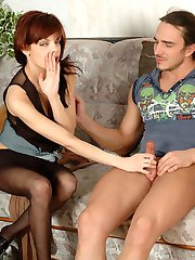 Busty redhead changes into black tights draining cock after pantyhosejob