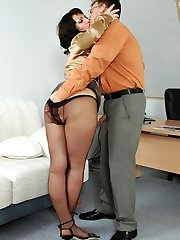 Luscious secretary in black pantyhose seducing her boss into outrageous sex