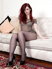 Redhead, black pantyhosed clad Jaye telling her own toy story!