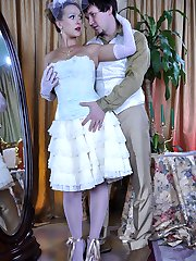 Gloved lady in a vintage costume dress and white stockings goes for a score