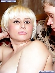 Astounding blonde wife cheats hubby with two studs