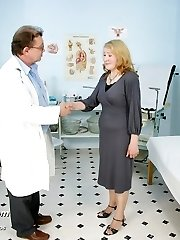 Granny Sofie mature pussy gynecology speculum obgyn examination at clinic