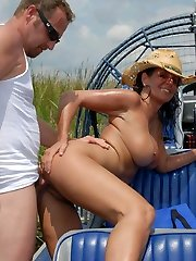This hot milf is getin down and grubby in these hot airboat fuck pictures