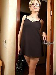 Steamy sissy guy in sexy dress getting anally used by strap-on armed babe