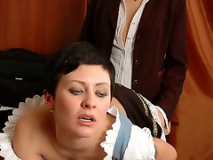 Naughty French maid licking mature gals strap-on and tongue-polishing muff