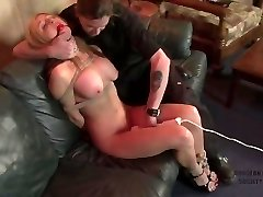 Buxomy slut struggles as her kinky tryst ties her up (p1)