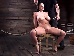 Submissive milf with G-cup boobs Angela White gets punished in the dungeon space
