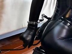 Bondage leather Submissive woman