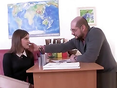Ideal schoolgirl gets teased and shagged by her elderly teacher