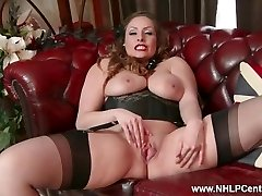 Innate big tits dark-haired Sophia Delane strips to nylons heels and jacks