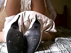 Garter Belt With Ivory Stockings