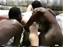 Horny wife gets gangbanged by black studs.