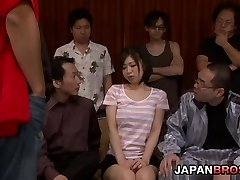 Yuuka Tsubasa in a good-sized gang-fuck drinks cum from a glass