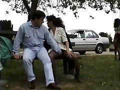Antique clip of Babes enjoying flashing public sex