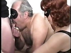 aged couple with bisex young male, mmmm, vintage