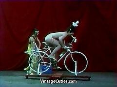 Beautiful Girl is Riding a Orgy-bike