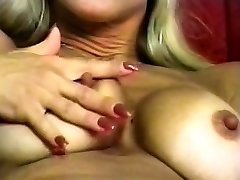 Steaming Busty Blonde Striptease and Fingering 2016