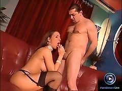 Glamour sweetie Maria Belucci closeup fucked on both her tight holes