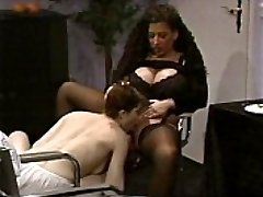 Huge-titted Tiziana Redford in Black Undergarments lesbian scene